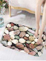 Skid Resistant Flannel Bathroom Rug with Stone Print