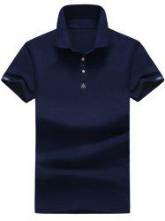 Geometric Pattern Buttoned Polo Shirt