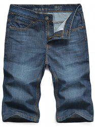 Embroidered Zipper Fly Straight Leg Denim Shorts - BLUE