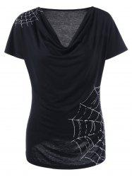 Cowl Neck Spiderwebs Graphic  T-shirt