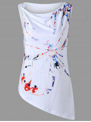Asymmetric Sleeveless Butterfly Graphic T-shirt