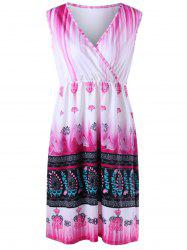 Plus Size Tribal Printed V  Neck Ombre Dress