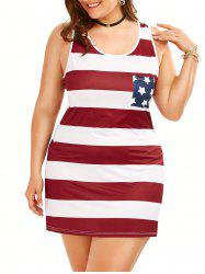 Plus Size American Flag Sleeveless Tank Dress - COLORMIX