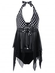 Halter Polka Dot Sheer Handkerchief Tankini Set