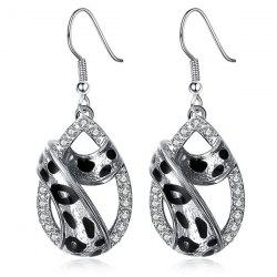 Alloy Rhinestone Leopard Print Teardrop Earrings