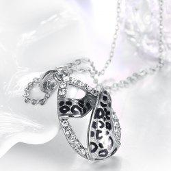 Rhinestone Alloy Teardrop Leopard Print Necklace