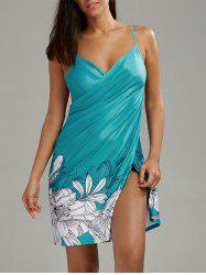 Open Back Floral Cover-ups Dress - BLUE GREEN