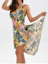 Hawaiian Open Back Sarong Wrap Cover-ups Dress - COLORMIX