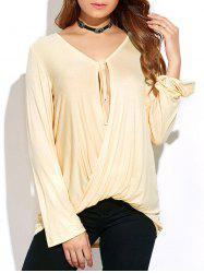 Long Sleeve Tie Neck Twisted T-Shirt