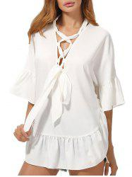 Flared Sleeve Lace Up Chiffon Tunic Top