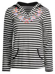 Hooded Floral Print Striped Tee with Pocket