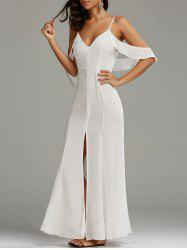 Cold Shoulder Long Backless Slit Prom Dress - WHITE