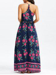 Floral Print Floor Length Slip Dress - PURPLISH BLUE