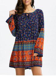 Floral Long Sleeve Mini Shift Tunic Dress - COLORMIX