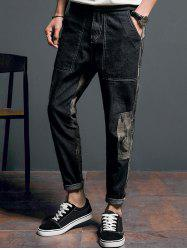Camouflage Panel Tapered Jeans -