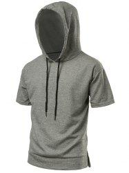 High Low Hem Side Slit Hooded Tee