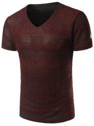V Neck Double Layer Mesh Tee Shirt