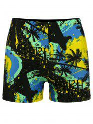 Tropical Plant Print Stretch Swimming Trunks - COLORMIX 3XL