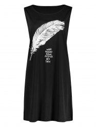 Side Slit  Feather Graphic Plus Size Tank Dress