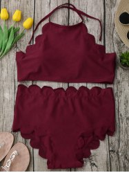 Halter High Waisted Scalloped Bikini Set - WINE RED