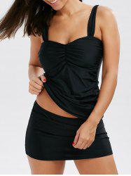 Ruched Front Skirted Tankini Bathing Suit - BLACK