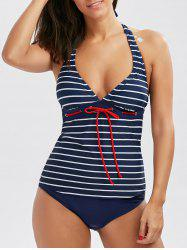 Halter Drawstring Front Striped Tankini Set