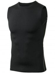 Ribbed Collar Skinny Workout Tank Top - BLACK