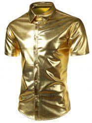 Metallic Short Sleeve Shirt - GOLDEN