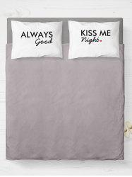 Brushed Fabirc Letters Printed Double Pillow Shams