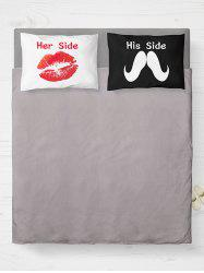 His Her Side Print 2Pcs Soft Bedding Pillow Case