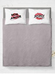 Brushed Fabirc Letters Lip Printing Double Pillow Shams