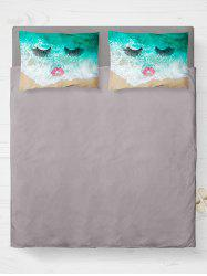 Brushed Fabirc Face Beach Printing Double Pillow Case