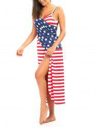 Patriotic American Flag Cover Up Wrap Dress - COLORMIX