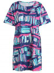 Plus Size Graffiti Printed T-shirt Dress with Pockets