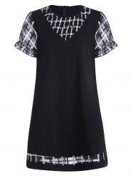 Plus Size Plaid Insert A Line Knee Length Dress