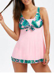 Palm Leaf Print Racerback Tankini Bathing Suit