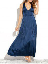 Backless Maxi Floor Length Pleated Wedding Guest Prom Dress -