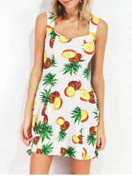 Pineapple Print Sweetheart Neckline Sleeveless Dress