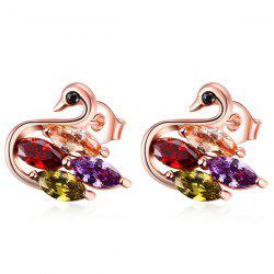 Swan Shape Faux Gemstone Embellished Stud Earrings