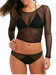 String Halter Bra Set With Mesh Cropped T-Shirt