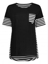 Pocket High Low Stripe Tunic Tee