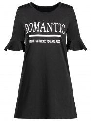 Bell Sleeve Romantic Graphic Print Tee