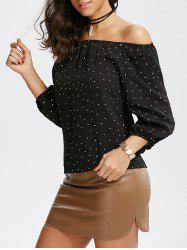 Off The Shoulder Polka Dot Chiffon Blouse