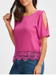 Cold Shoulder Scalloped Lace Insert Blouse
