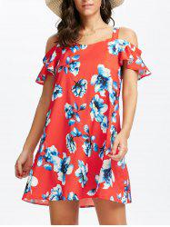 Mini Floral Cold Shoulder Summer Dress