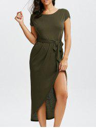 High Split Belt Dress with Sleeves