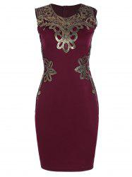 Lace Applique Pencil Dress - WINE RED