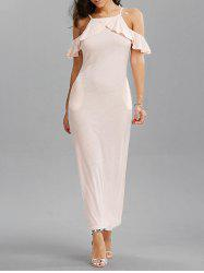 Flounce Cold Shoulder Long Fitted Wedding Dress