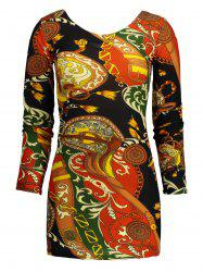 Tribal Print Bodycon Mini Dress - FLORAL