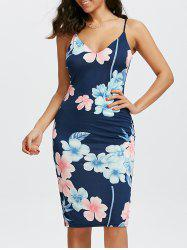Floral Print Slip Knee Length Dress